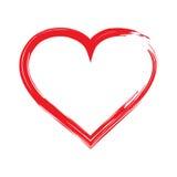 Cadre rouge de forme de coeur avec la peinture de brosse d'isolement sur un fond blanc Image libre de droits