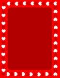 Cadre rouge de jour de valentines de coeurs Images libres de droits