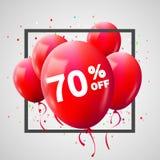 Cadre rouge de remise de ballons Concept de VENTE pour le commerce de publicité de magasin du marché de boutique 70 pour cent Rem illustration de vecteur