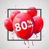 Cadre rouge de remise de ballons Concept de VENTE pour le commerce de publicité de magasin du marché de boutique 80 pour cent  Re illustration stock