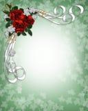 Cadre rouge de roses d'invitation de mariage Photographie stock