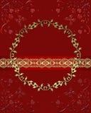 Cadre rouge en verre foncé avec des papillons et des coeurs de dentelle Image stock
