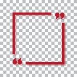 Cadre rouge pour votre texte avec l'ombre colorée Signe de citation des textes Icône rouge dans des coins de foyer Illustration d illustration libre de droits