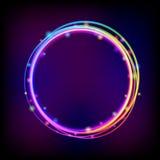 Cadre rougeoyant de cercle d'arc-en-ciel avec des étincelles illustration stock