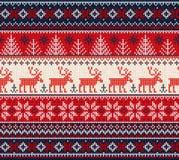 Cadre sans couture de modèle de chandail de bonne année laide de Joyeux Noël images libres de droits