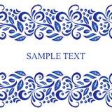 Cadre sans couture de modèle de vecteur russe traditionnel dans le style de gzhel Peut être employé pour la bannière, la carte, l illustration stock