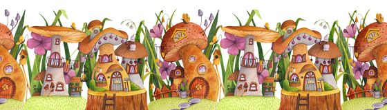 Cadre sans joint Rue des maisons de champignon avec l'herbe, les fleurs, le papillon, le pondoir, la barri?re, la banni?re et le  illustration stock