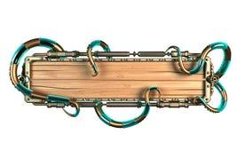 Cadre stylisé de steampunk fait de bois et métal, avec des tentacules de poulpe et des villes illustration 3D Image stock