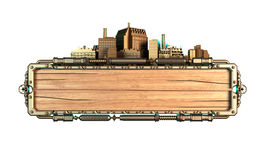 Cadre stylisé de steampunk fait de bois et métal, avec des tentacules de poulpe et des villes illustration 3D Photo libre de droits