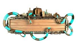 Cadre stylisé de steampunk fait de bois et métal, avec des tentacules de poulpe et des villes illustration 3D Photos libres de droits