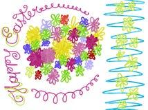 Cadre tiré par la main coloré avec des fleurs pour Joyeuses Pâques Photo libre de droits