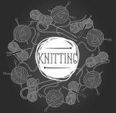 Cadre tiré par la main de knit Fond fabriqué à la main de fil Illustration Stock
