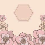 Cadre tiré par la main en pastel avec la couleur rose de fleurs Illustration Stock