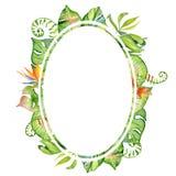 Cadre tropical de feuilles d'aquarelle Photos stock