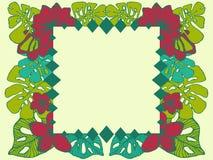 Cadre tropical géométrique, conception d'espace naturelle de copie avec des fleurs de plumeria et palmettes illustration de vecteur