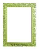 cadre vert antique d'isolement sur le fond blanc, chemin de coupure Image stock