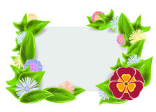 Cadre vert avec des fleurs Photo libre de droits