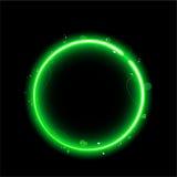 Cadre vert de cercle avec des étincelles Image stock