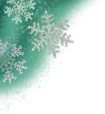 Cadre vert de flocon de neige de sarcelle d'hiver Photos stock