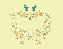 Cadre victorien avec le petit oiseau Photographie stock