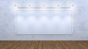 Cadre vide blanc sur un mur en béton Photographie stock libre de droits