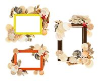 Cadre vide décoré des coquillages Photos stock