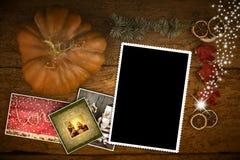 Cadre vide de photo de la carte de voeux de Noël une Photographie stock libre de droits