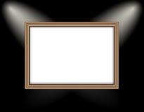 Cadre vide sur les projecteurs colorés d'un éclairage de mur Photographie stock