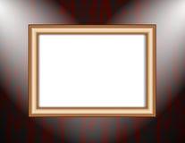 Cadre vide sur les projecteurs colorés d'un éclairage de mur Photo libre de droits