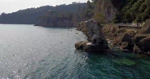 Cadrega`s rock, maritime pine tree, aerial view, waterfront between Santa Margherita Ligure and Portofino, Liguria, Italy. Cadrega`s rock, maritime pine tree stock video
