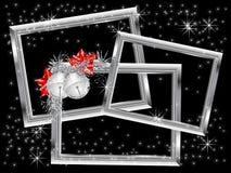 Cadres argentés de Noël Photographie stock libre de droits