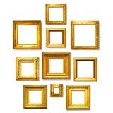 Cadres carrés d'or Photographie stock libre de droits