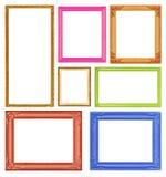 Cadres colorés de collection sur le fond blanc Images libres de droits