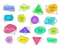 Cadres colorés par croquis grunge de style de griffonnage de vecteur Images stock