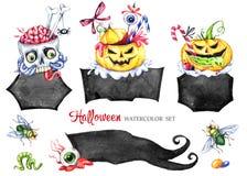 Cadres d'aquarelle réglés, desserts toxiques Collection de vacances de Halloween Nourriture drôle Magie, symbole d'horreur enfant illustration de vecteur