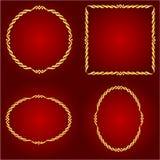 Cadres d'or sur le vecteur rouge de fond Photos libres de droits