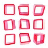 Cadres d'étagère de grand dos de cube en Copyspace d'isolement Photographie stock libre de droits