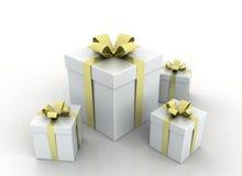 Cadres de cadeau avec des bandes d'or Image libre de droits