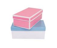 Cadres de cadeau bleus et roses photographie stock libre de droits