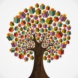 Cadres de cadeau d'arbre de vacances Photos libres de droits