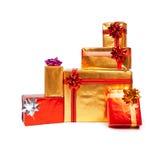 Cadres de cadeau d'or et rouges Images libres de droits