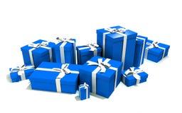 Cadres de cadeau dans le bleu Photo libre de droits