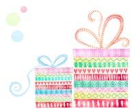 Cadres de cadeau mignons Carte de Noël avec des cadeaux de Noël Fond de vacances Présents et boîtes de cadeaux d'isolement par ré Image stock