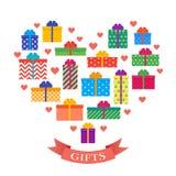 Cadres de cadeau réglés Présents à plat colorés de collection Vecteur Image stock