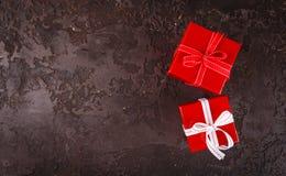 Cadres de cadeau rouges Images stock