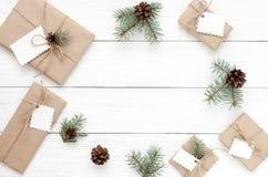 Cadres de cadeau sur le blanc Image stock