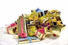 Cadres de cadeau sur le blanc Photographie stock libre de droits