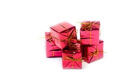 Cadres de cadeau sur le blanc Photos stock