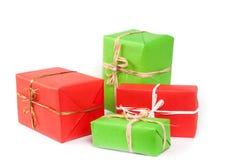 Cadres de cadeau sur le blanc Photos libres de droits