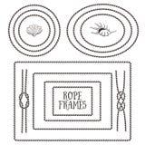 Cadres de corde, frontières, noeuds Éléments décoratifs tirés par la main Image stock